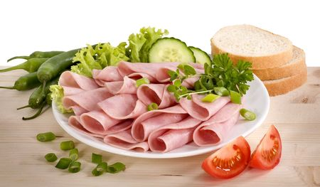 Slices of ham arranged on a plate
