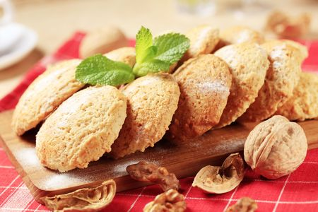 Crisp cookies on a cutting board - closeup