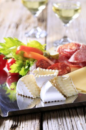 Tray of assorted cold cuts - detail