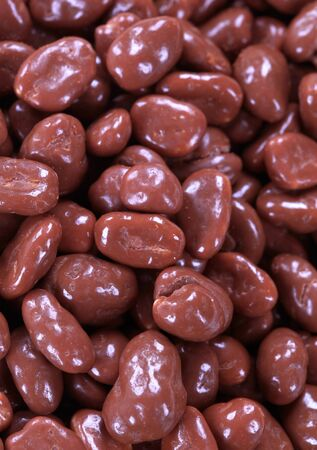 Detail of chocolate covered peanuts - full frame