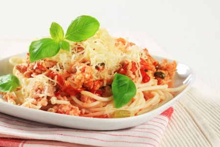 Spaghetti with minced meat and tomato sprinkled with cheese