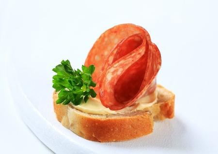 Closeup view of salami canape