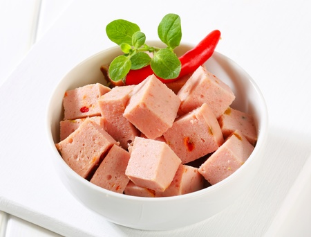 Diced meatloaf in a bowl