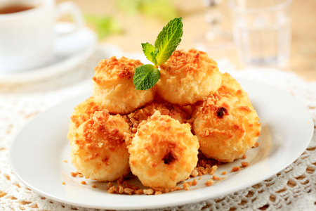 Pille of coconut macaroons on plate