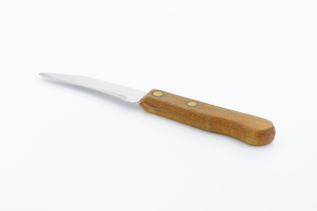 Small peeling knife with wooden handle