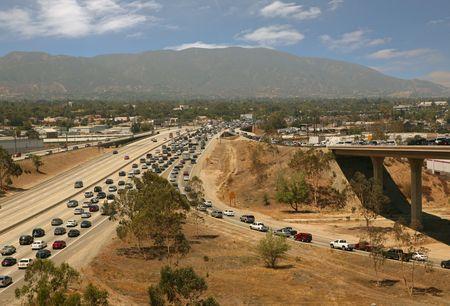 Traffic jam in California Highway System