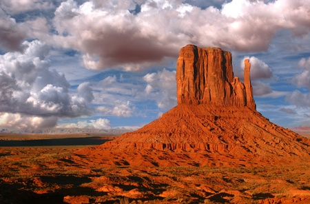 Peaks of rock formations in the Navajo Park of Monument Valley Utah known as The Mittens