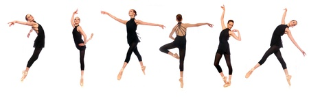 Multiple Ballet En Pointe Poses in Studio With White Background