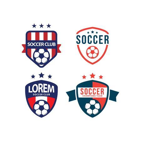 Illustration pour Soccer Club Logo Set Vector Template Design Illustration - image libre de droit