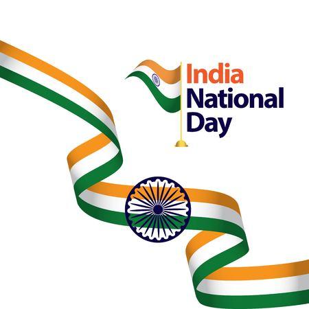 Illustration pour India National Day Vector Template Design Illustration - image libre de droit