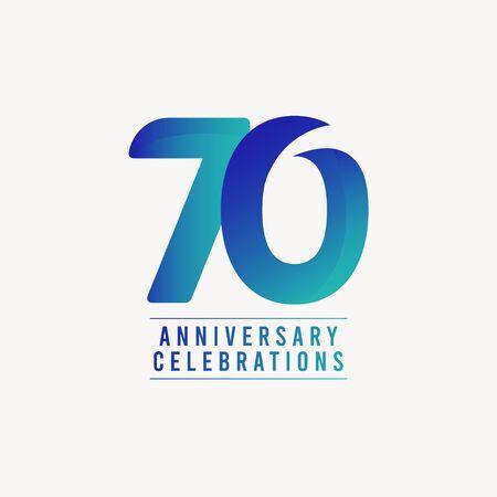 Illustration pour 70 Years Anniversary Celebrations Vector Template Design Illustration - image libre de droit