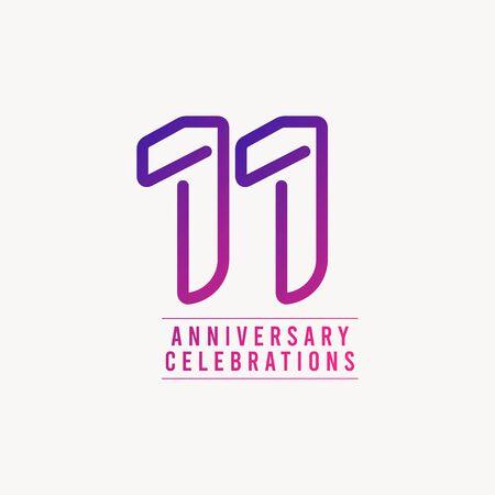 Illustration pour 11 Years Anniversary Celebration Number Vector Template Design Illustration - image libre de droit