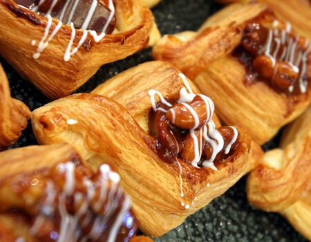 Caramel nut danish pastries with nut filling