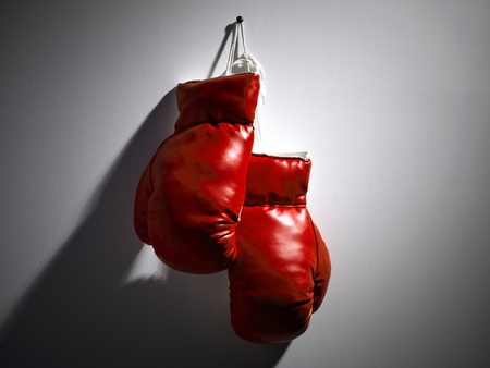 One pair of red boxing gloves hanging from the wall