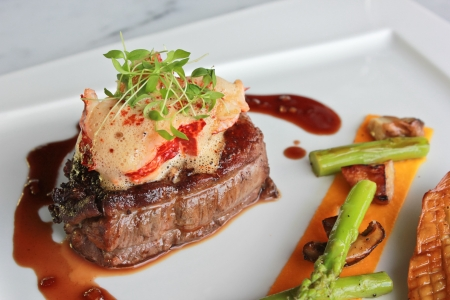 Photo for Pan roasted beef tenderloin, lobster medallion - Royalty Free Image