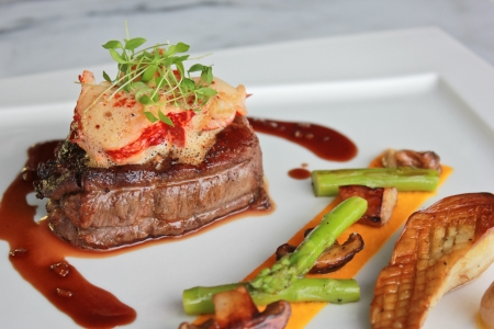 Pan roasted beef tenderloin, lobster medallion