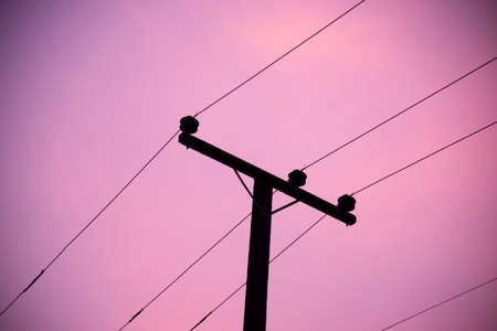 Photo for Electric pole silhouette on sky background. - Royalty Free Image