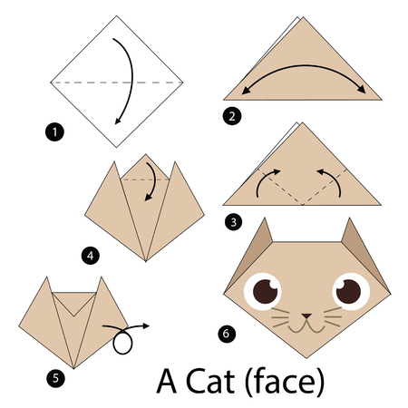 How to make paper cat face origami At homemade Step by step| SD ... | 450x450