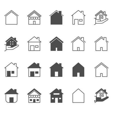 Illustration for Set of house icon. Simple outline residence property. Real estate vector symbol 320x320 pixels. - Royalty Free Image