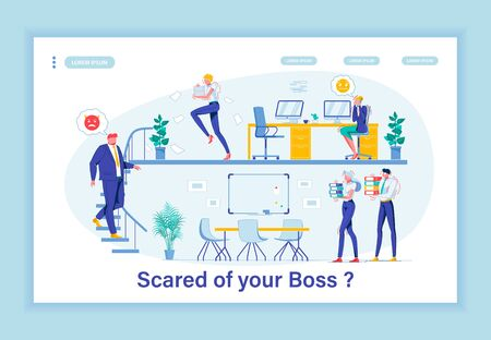 Illustration pour Terror in Workplace. Whole Company Shaking in Its Boots Because Hysterical Chief. Despotic Boss Making Office Life Unbearable. Employees Searching for Place to Hide from Tyrant. Landing Page Template. - image libre de droit