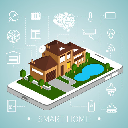 Smart home with outline icons on smart phone. Isometric house.