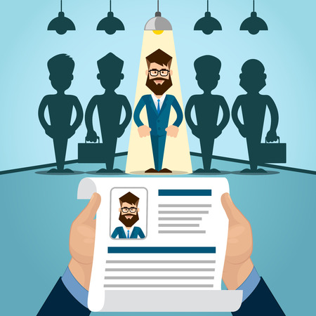 Illustration pour Vitae Recruitment Candidate Job Position, Curriculum. Hands Hold CV Profile Choose from Group of Business People to Hire Interview Vector Illustration - image libre de droit