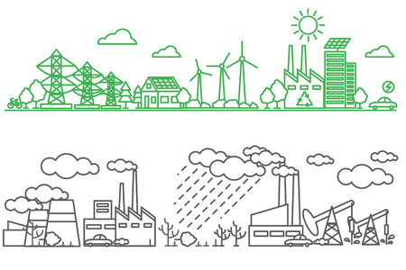 Ilustración de Environment, ecology infographic elements. Environmental risks and pollution, ecosystem. Can be used for background, layout, banner, diagram, web design, brochure template. Vector illustration line art - Imagen libre de derechos