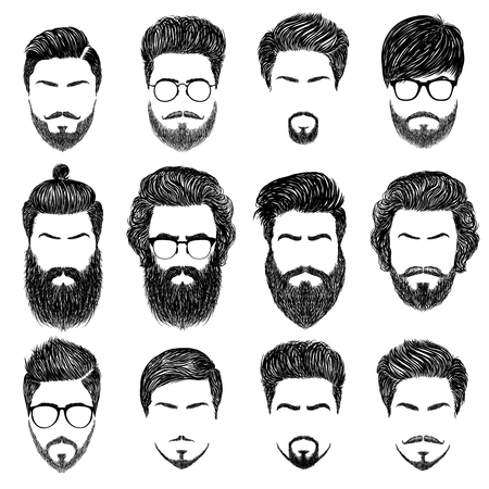 Illustration pour A set of mens hairstyles, beards and mustaches.Gentlmen haircuts and shaves.  Digital hand drawn vector illustration. - image libre de droit