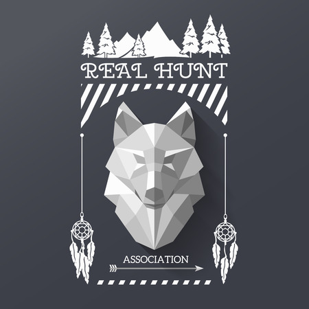 Ilustración de Real hunt with head of wolf in the center of lable. Polygonal wolf and forest sing. Hunter association lable. illustration - Imagen libre de derechos