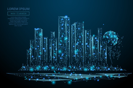 Illustration pour Abstract image of a Megalopolis in the form of a starry sky or space, consisting of points, lines, and shapes in the form of planets, stars and the universe. Big city vector wireframe concept - image libre de droit
