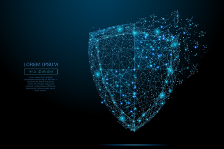 Ilustración de Security Shield composed of polygons. Business concept of data protection. Low poly vector illustration of a starry sky or Comos. The shield consists of lines, dots and shapes. - Imagen libre de derechos
