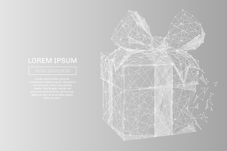 Illustration pour White abstract gift low poly polygonal, geometry triangle. Light connection structure. Low poly vector on gray business concept background. - image libre de droit