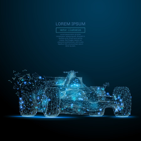 Illustration pour Polygonal F1 CAR. Speed concept. Vector bolide mesh spheres from flying debris. Thin line concept. Blue structure style illustration - image libre de droit