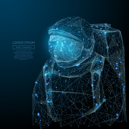 Illustration pour Abstract image of an astronaut in the form of a starry sky or space, consisting of points, lines, and shapes in the form of planets, stars and the universe. Vector space wireframe concept. - image libre de droit
