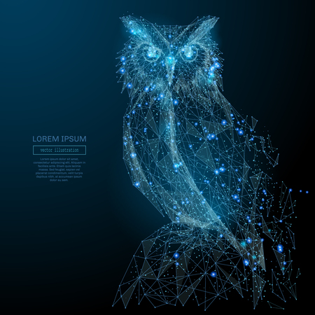 Ilustración de Owl isolated from low poly wireframe on dark background. Wild bird of prey. Vector polygonal image in the form of a starry sky or space, consisting of points, lines, and shapes in the form of stars - Imagen libre de derechos