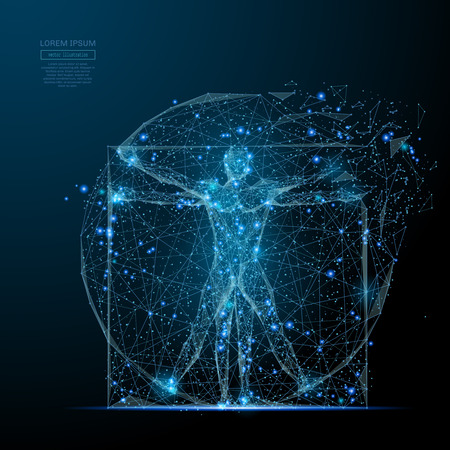 Illustration pour Glowing vitruvian man icon. - image libre de droit