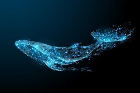 Ilustración de Blue whale composed of polygon. Marine animal digital concept. Low poly vector illustration of a starry sky or Comos. - Imagen libre de derechos