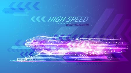 Ilustración de High speed concept. Cheetah in motion in the form of a starry sky or space, consisting of point, line. - Imagen libre de derechos