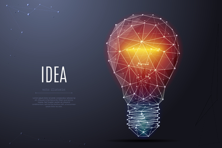 Illustration pour Vector Incandescent lamp with bright light. Low poly wireframe and points. - image libre de droit