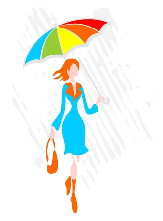 The stylized woman with a umbrella goes under a rain.