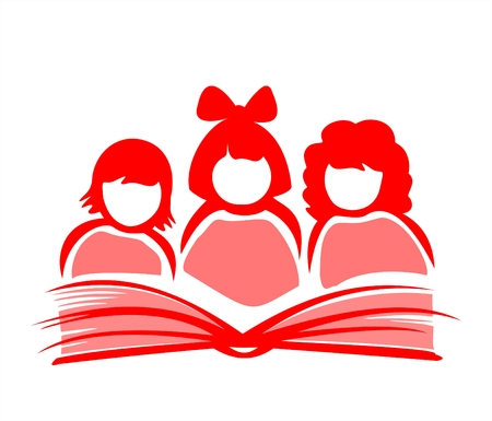 Silhouettes of three girls reading the book.