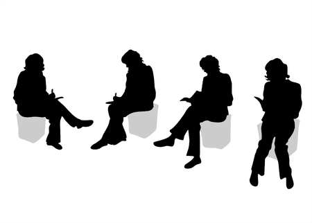 Four black silhouettes of sitting women on a white background.