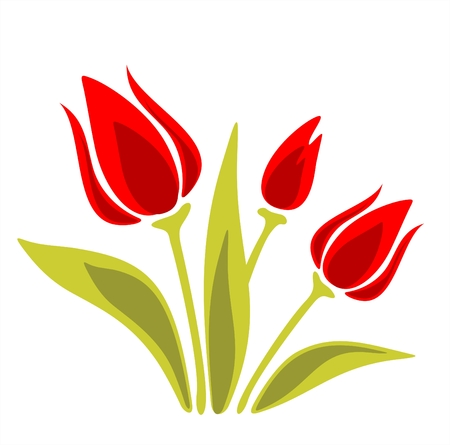 Stylized red tulips on a  white background. Digital illustration.