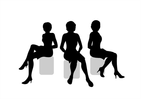 Three black silhouettes of sitting women on a white background.