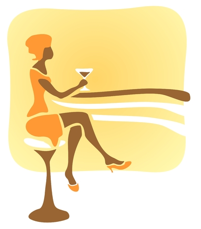 Stylized woman sitting at a bar rack and drinks a cocktail.