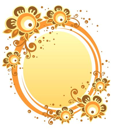 Cartoon  flowers with yellow frame on a white background.