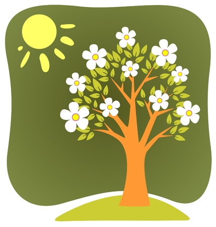 Blossoming  cartoon apple-tree and sun on a green background.