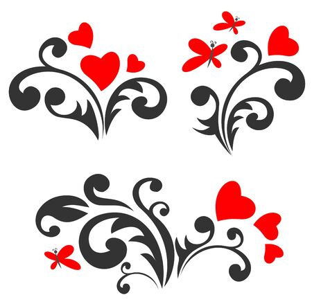 Stylized romantic pattern set  with hearts and butterflies. Valentines illustration.