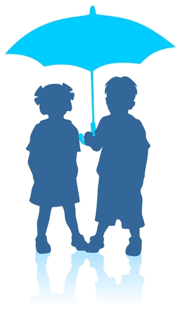 Blue girl and boy silhouettes with umbrella.