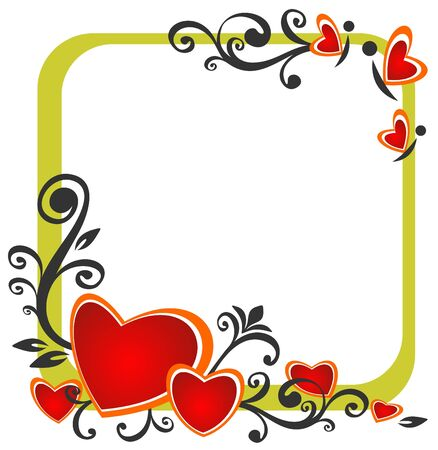 Stylized romantic pattern  with hearts and floral pattern.